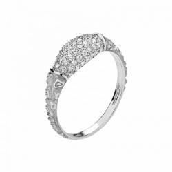 Женское кольцо Тигр из белого золота с фианитом