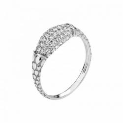 Женское кольцо Змея из белого золота с фианитом