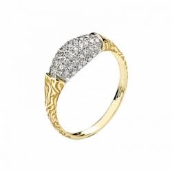 Женское кольцо Медведь из желтого золота с фианитом