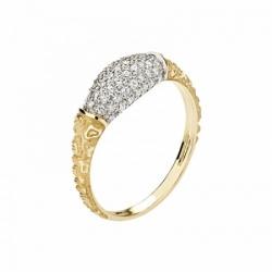 Женское кольцо Тигр из желтого золота с фианитом
