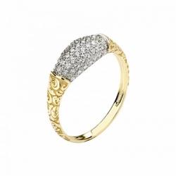 Женское кольцо Лиса из желтого золота с фианитом