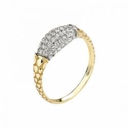 Женское кольцо Змея из желтого золота с фианитом