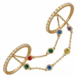 Кольцо из красного золота с цветными камнями