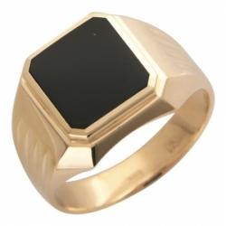 Мужское кольцо из красного золота с ониксом