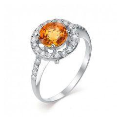 Женское кольцо из серебра с цитрином и фианитом