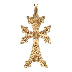 Крестик из желтого золота без камней