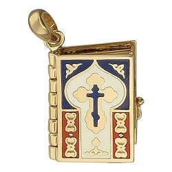 Подвеска Библия из желтого золота без камней