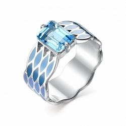 Серебряное кольцо c эмалью и топазом