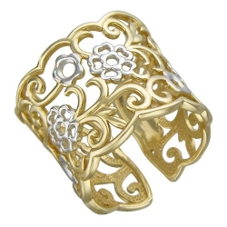 Женское кольцо Ажур из желтого золота без камней