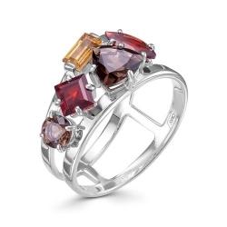 Серебряное кольцо c цветными камнями