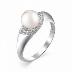 Серебряное кольцо c белым жемчугом