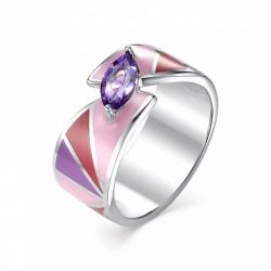 Серебряное кольцо c эмалью и аметистом