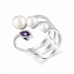 Серебряное кольцо c белым жемчугом и аметистом