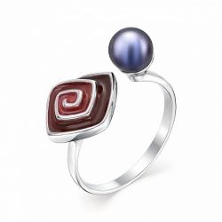 Серебряное кольцо c черным жемчугом и эмалью