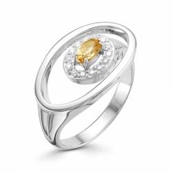 Женское кольцо из серебра с цитрином