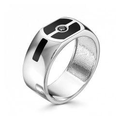 Мужское кольцо из серебра с эмалью и цирконием