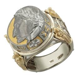 Мужское кольцо Цезарь из комбинированного золота без камней