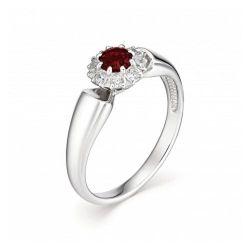 Женское кольцо из серебра с гранатом и фианитом