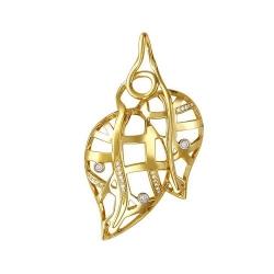 Золотая подвеска Листья c фианитом