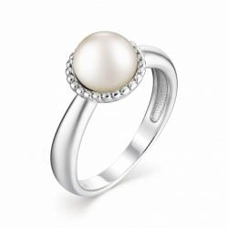 Женское кольцо из серебра с белым жемчугом