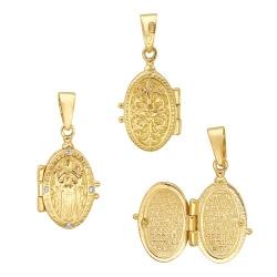 Иконка из желтого золота c фианитом