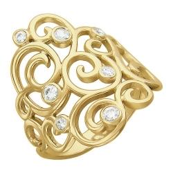Женское кольцо Ажур из желтого золота c фианитом