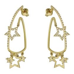 Серьги-гвоздики Звезды из желтого золота c фианитом