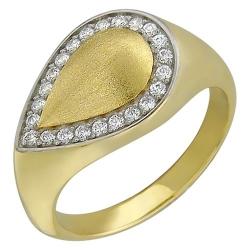 Женское кольцо из желтого золота c фианитом