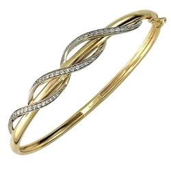 Жесткий Браслет из комбинированного золота c фианитом