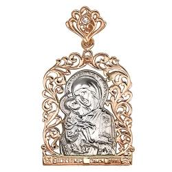 Иконка из комбинированного золота c фианитом Владимирская