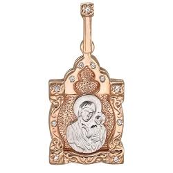 Иконка из комбинированного золота c фианитом