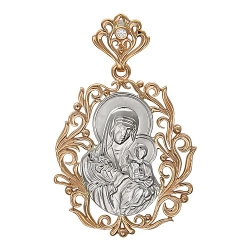 Иконка из комбинированного золота c фианитом Б.М.Неувядаемый цвет