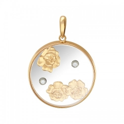 Подвеска из комбинированного золота c сапфировым стеклом, фианитом