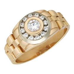 Мужское кольцо из комбинированного золота c фианитом