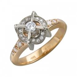 Женское кольцо из комбинированного золота c фианитом