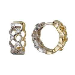 Серьги конго из комбинированного золота c фианитом