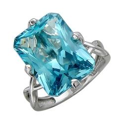 Женское кольцо из белого золота c аквамарином