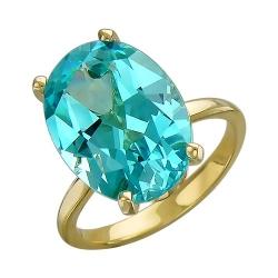Женское кольцо из желтого золота c параибой