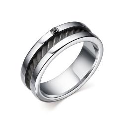 Мужское кольцо серебра с черным бриллиантом