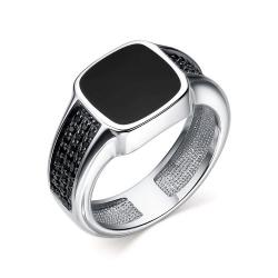 Мужское кольцо серебра с эмалью и фианитом
