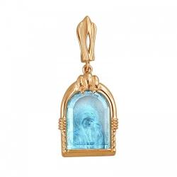 Золотая иконка c топазом Казанская