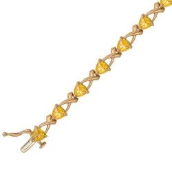 Золотой декоративный браслет c цитрином