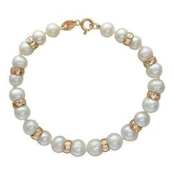 Золотой декоративный браслет c белым жемчугом, фианитом