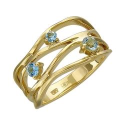 Женское кольцо из желтого золота c аквамарином