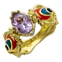 Женское кольцо из комбинированного золота c аметистом, эмалью