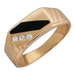 Мужское золотое кольцо c ониксом, фианитом