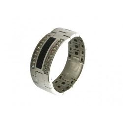 Мужское кольцо из белого золота c ониксом, фианитом