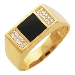 Мужское кольцо из желтого золота c ониксом, фианитом