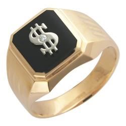 Мужское кольцо с долларом из комбинированного золота c ониксом, фианитом