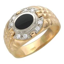 Мужское кольцо из комбинированного золота c ониксом, фианитом